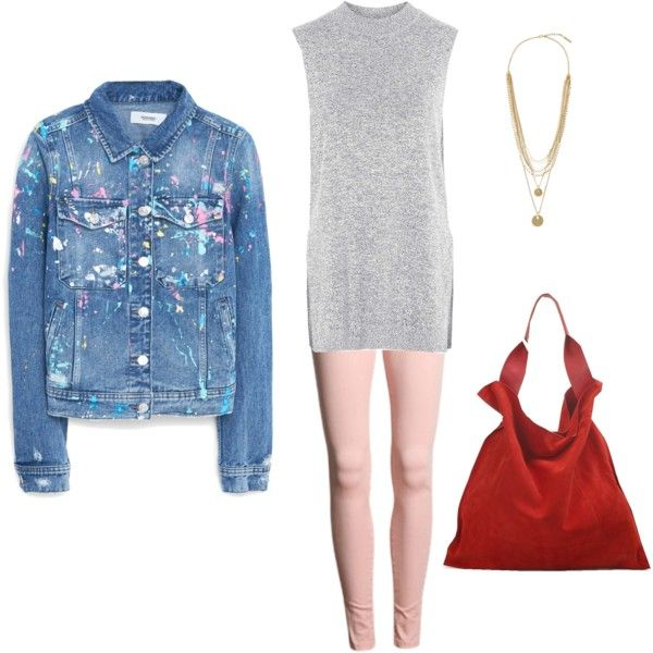 The Denim Jacket by doubleblonded on Polyvore featuring polyvore, fashion, style, Topshop, MANGO, Jil Sander and Vince Camuto