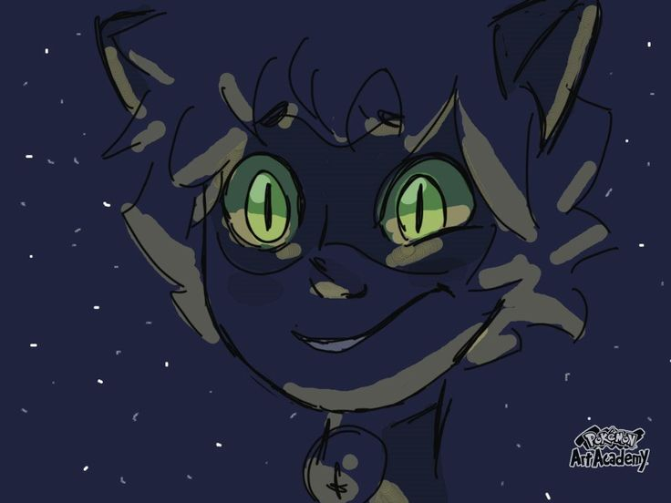 Glowing green eyes