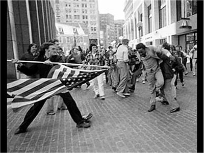 Stanley J. Forman's photo of Joseph Rakes (17yo So. Boston) attacking Theodore Landsmark.  I've been thinking about this photo a lot because of the hate speech in the election- racism's everywhere, and GOP has been watering this weed for a long time- how's that fruit coming along?