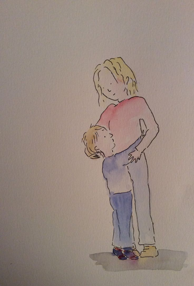 Mums hugs.  Illustration, water colour and ink.