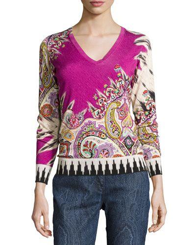 ETRO Paisley Stampa V-Neck Sweater, Fuchsia/Black. #etro #cloth #