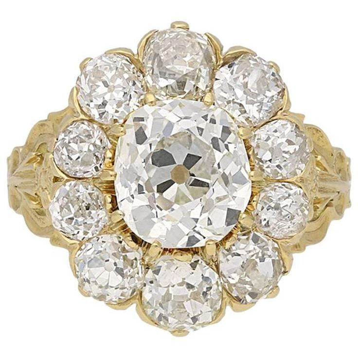 Antique Victorian old mine diamond coronet cluster ring | From a unique collection of vintage cluster rings at https://www.1stdibs.com/jewelry/rings/cluster-rings/