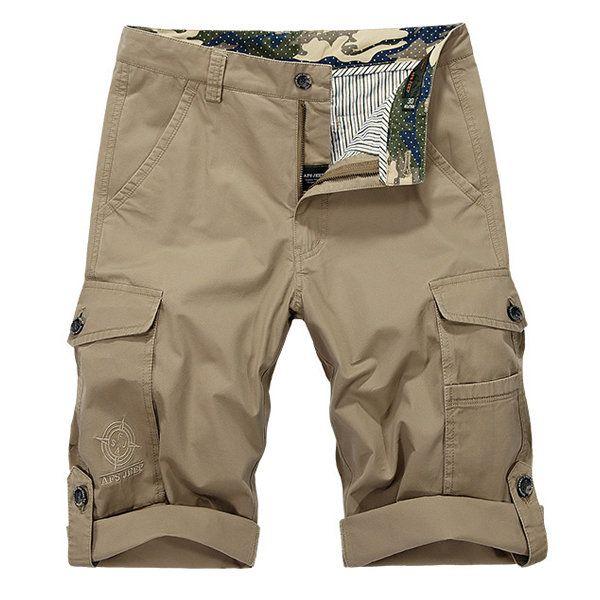 Summer Outdoor Solid Color Cotton Multi-pocket Cargo Shorts for Men