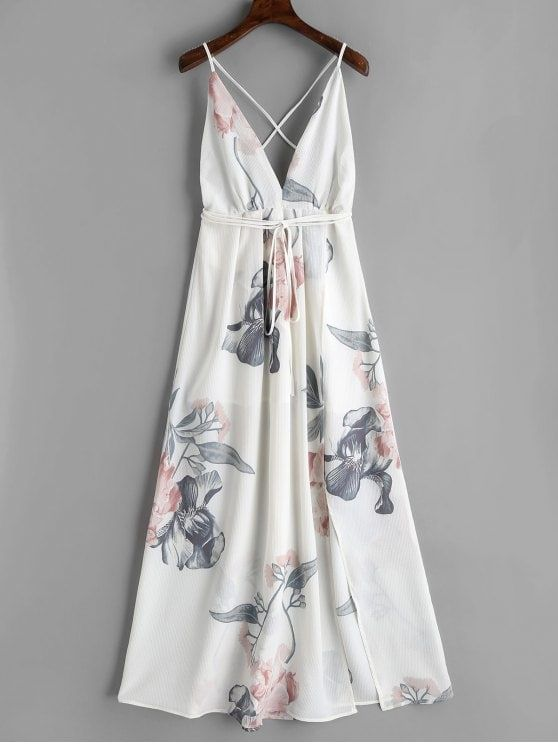 Floral Criss Cross Back Slit Maxi Dress. This gorgeous floral printed maxi dress... 7