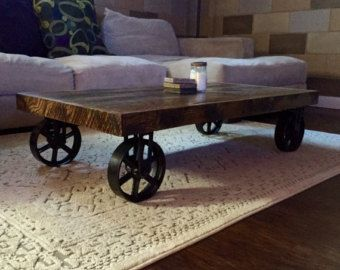 Industrial Cart Coffee Table by CrazyFishWoodworking on Etsy