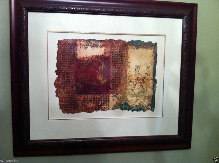 Original Etching / Painting on Handmade Chiffon Paper / Framed by Michel Dupont