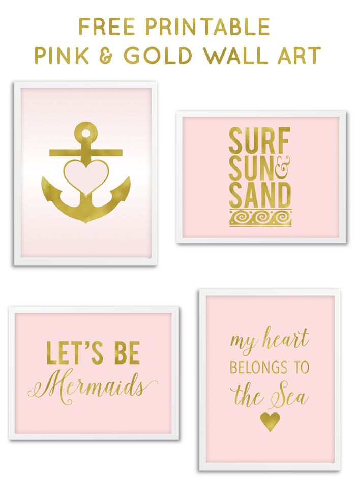 Free Printable Pink & Gold Nautical Wall Art from @chicfetti