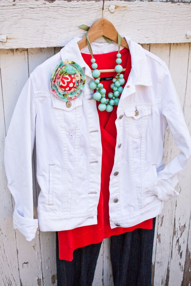 White denim jacket, turquoise necklace, red tee.  DYT Type one. I am not sure how white that jacket or how black those pants are; these might be T4 colors with T1 accessories. As a 4/1, I might be able to pull something like this off, but that pin has to go!