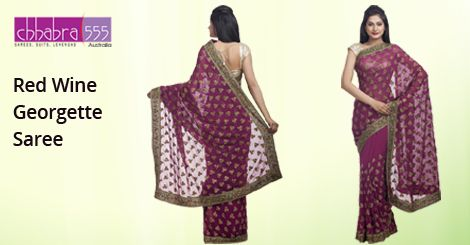Red Wine Georgette Saree in @ $93.95 AUD from collections of over 4000 unique products - design, colour and fabric scheme of ‪Chhabra555‬ in ‪Australia‬.