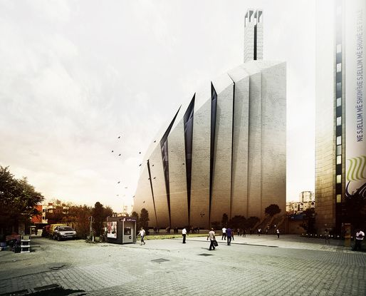 Street view of the Prishtina Central Mosque entry by TARH O AMAYESH Consultant Architects & Town Planners (Image: TARH O AMAYESH)