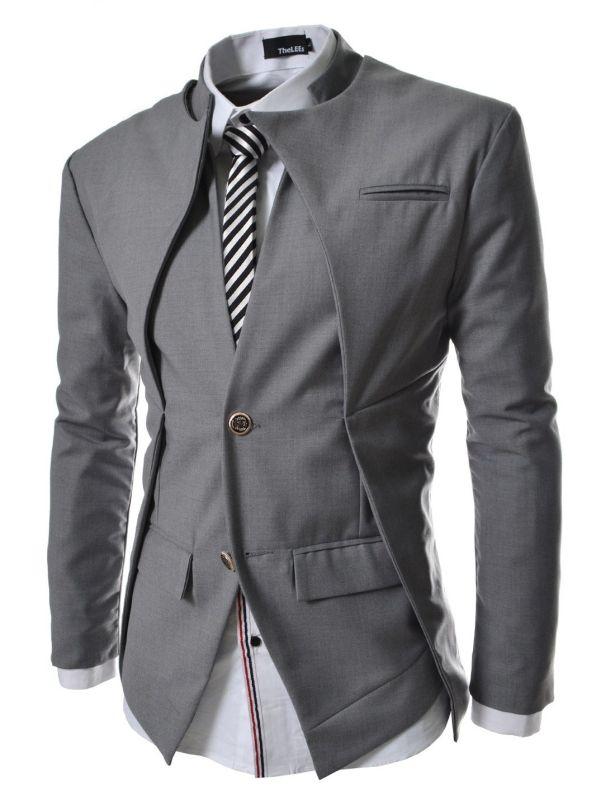 Mens Slim Fit Double Collar 2 Button Blazer Jacket
