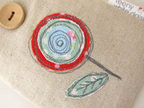 This natural linen pouch with free motion embroidered appliqué is just the thing to help to protect your phone or iPod from those everyday