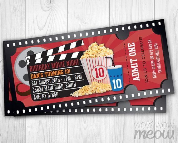 38 best Party Ideas! images on Pinterest Kids movie party, Movie - create your own movie ticket