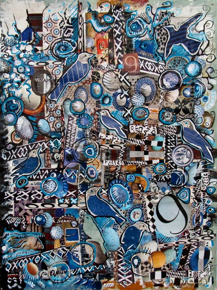 """Patricia Blin """"N'oeuf"""" 2013 Paris Technique mixte : Acrylique et collage . 77 X 55 cm  Collection particulière http://patriciablin.tumblr.com/"""