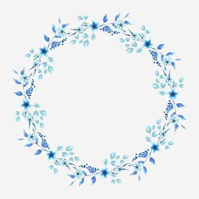 Guirnalda Floral Azul Estilo Redondo Acuarela Png Y Psd Molduras Redondas Logotipo Floral Ilustracoes Florais