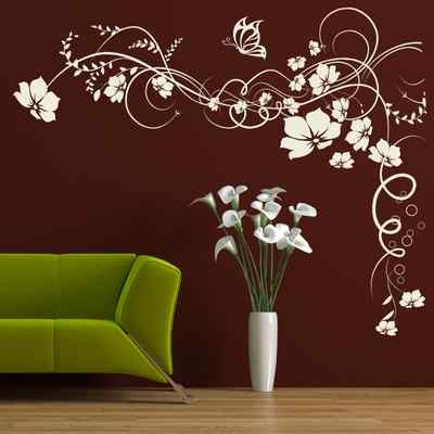 Butterfly Vine Flower Removable Art Wall Stickers / Wall Decals / Large Wall Art | eBay
