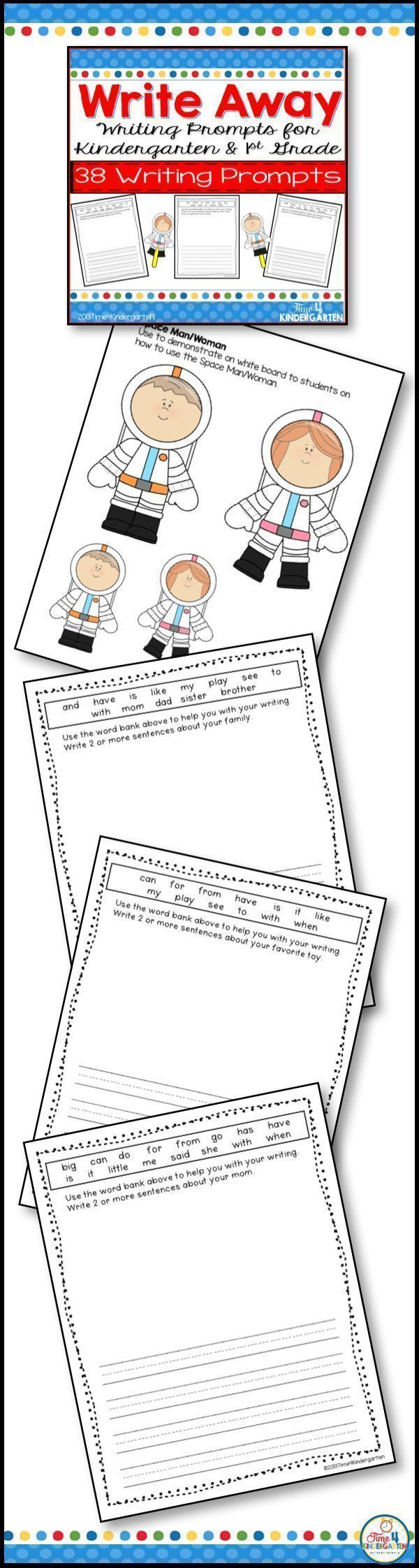 Writing prompts for kindergarten and first grade. Your students will love writing when they can use these simple writing page that include a friendly word bank with sight words to eehlp them with their writing.