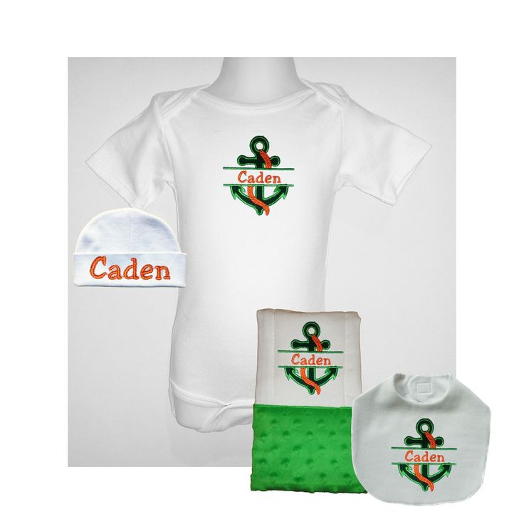 """Green Baby Boy Personalized Nautical One Piece, Bib, Burp Cloth And Hat Set. One Piece:  100% Cotton 7.5 oz. interlock knit One piece comes in sizes: 0 - 3 months, 3 - 6 months, 6 - 12 months, 12 - 18 months One piece has 3 snap closure  Bib:  Top layer = white cotton knit, Bottom layer = white cotton flannel Measures approximately 8 3/4"""" X 6"""" Has velcro closure  Burp Cloth is approximately 14"""" X 19""""   6 ply absorbent cloth diaper Embellished with greenminkyfabric panel    One piece, bib…"""