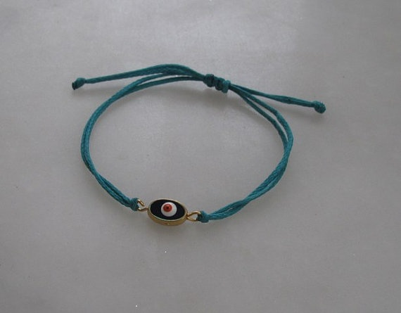 Turquoise cord Friendship Bracelet2 sided evil by galladesign, $15.00
