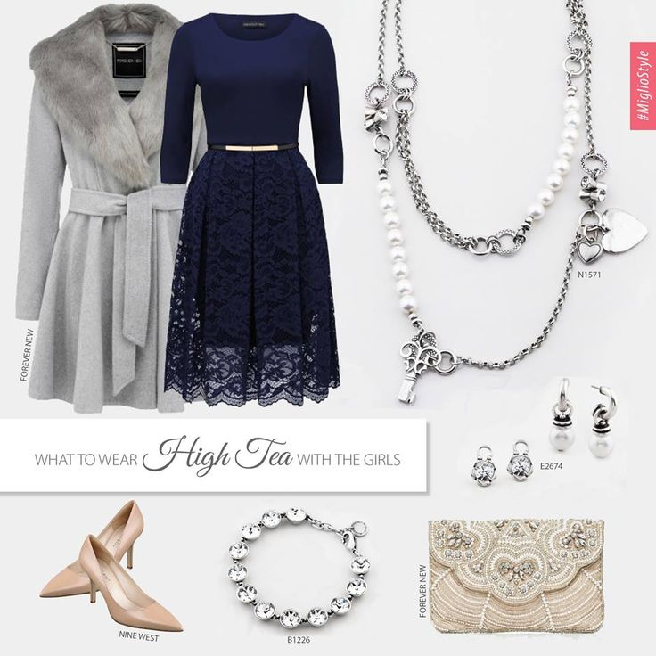 #migliostyle - Wondering what to wear for #High #Tea with the girls? Go for a #feminine look - we love #navy #blue with #classic #pearls - www.miglio.com