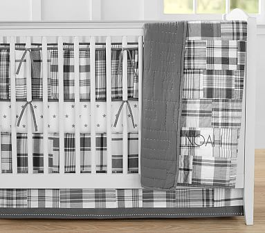 Madras Nursery Bumper Set with Gray Star Crib Fitted Sheet