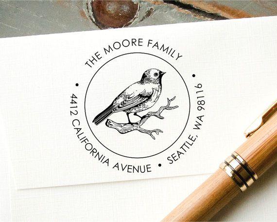 Self Inking Custom Address Stamp Bird on Branch Stamp Round