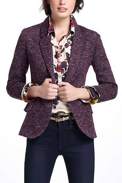 floral shirt with purple tweed jacket and straight leg dark wash jeans