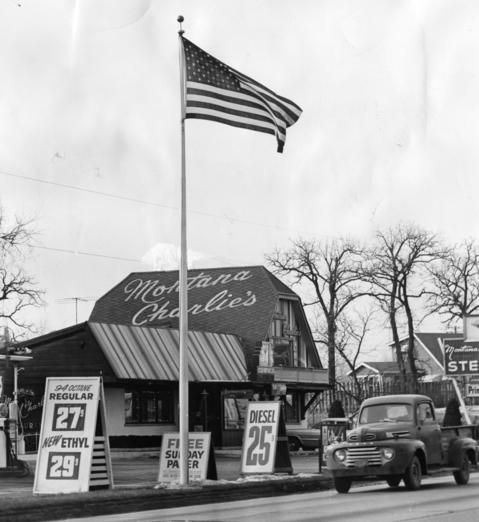 Jan. 8, 1963: The United States flag flies daily in front of Montana Charlie's restaurant and gas station on North Avenue near Illinois Highway 83.
