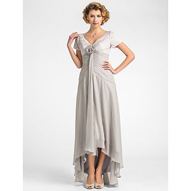 A-line+V-neck+Asymmetrical+Lace+And+Chiffon+Mother+of+the+Bride+Dress+–+AUD+$+116.87