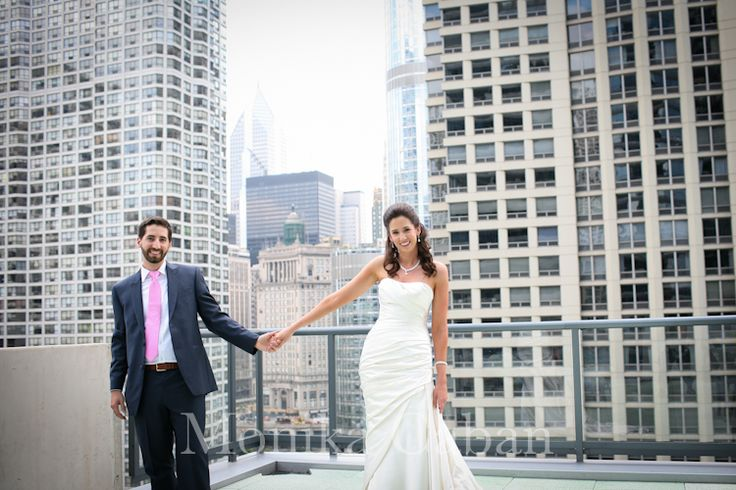 Chicago wedding, bride and groom on the terrace of Palomar hotel,   MONIKA CABAN photography