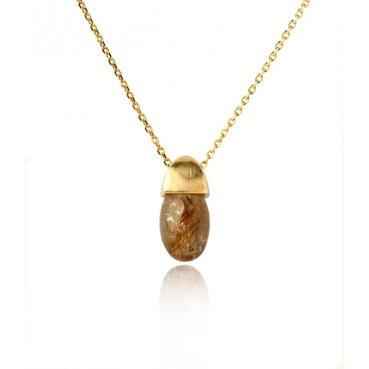 Acorn Pendant with Rutilated Quartz in a Gold Vermeil Finish by Fei Liu #jewellery #feiliu #necklace #luxury