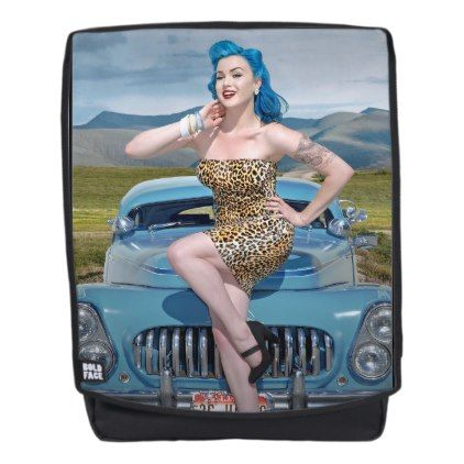 Jungle Jane Leopard Hot Rod Pin Up Car Girl Backpack - girl gifts special unique diy gift idea