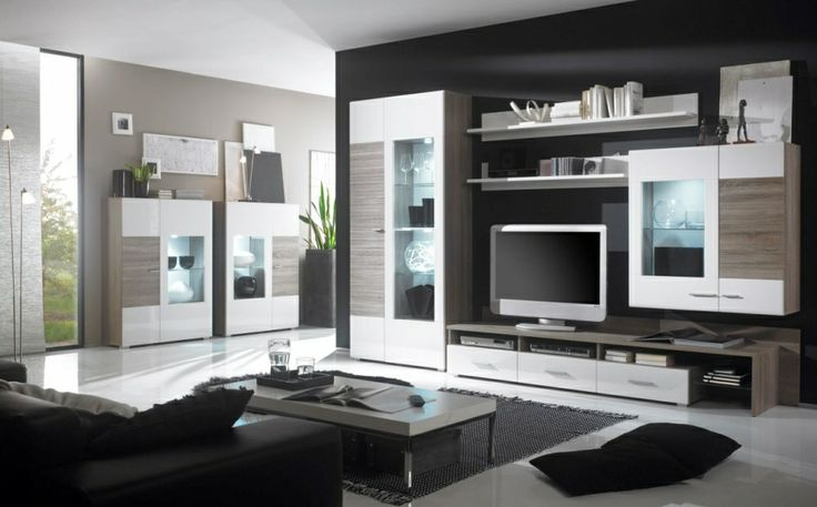 FINIAN Wohnwand II weiss/Eiche Sonoma #hochglanz #wohnzimmer #modern #elegant