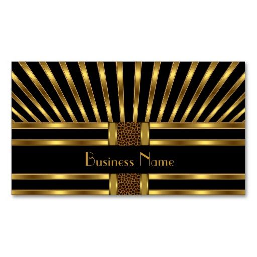 Business Card Black Gold Stripe Curve 3