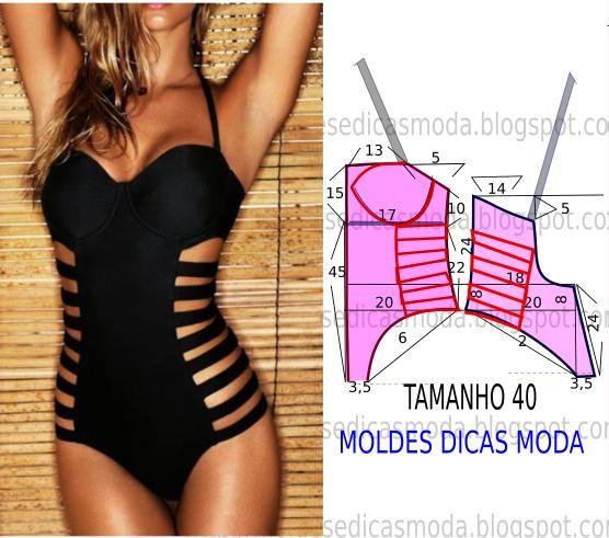 Hoje proponho este molde triquini feminino de design arrojado e descontraído para as mulheres mais exigentes. As medidas do molde correspondem ao tamanho 4