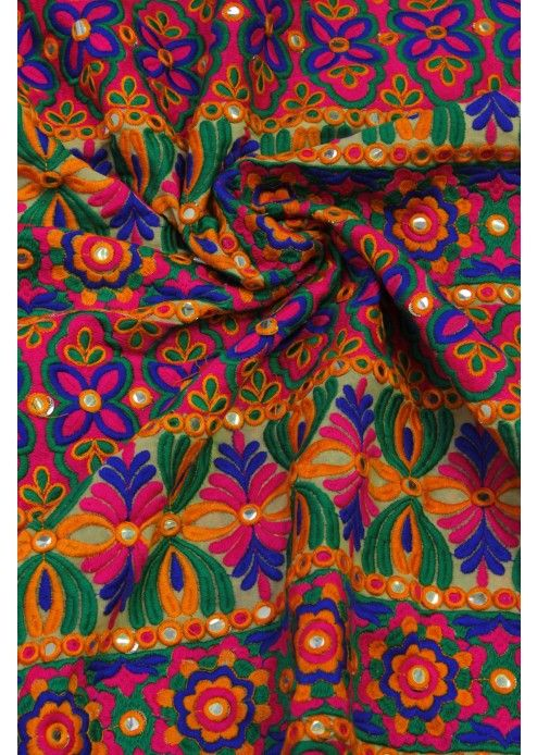 Multi Color Georgette Fabric with Thread and Mirror Work for Blouse - 4124