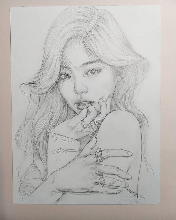 Jennie In 2020 Art Drawings Sketches Creative Art Drawings Sketches Simple Girl Drawing Sketches