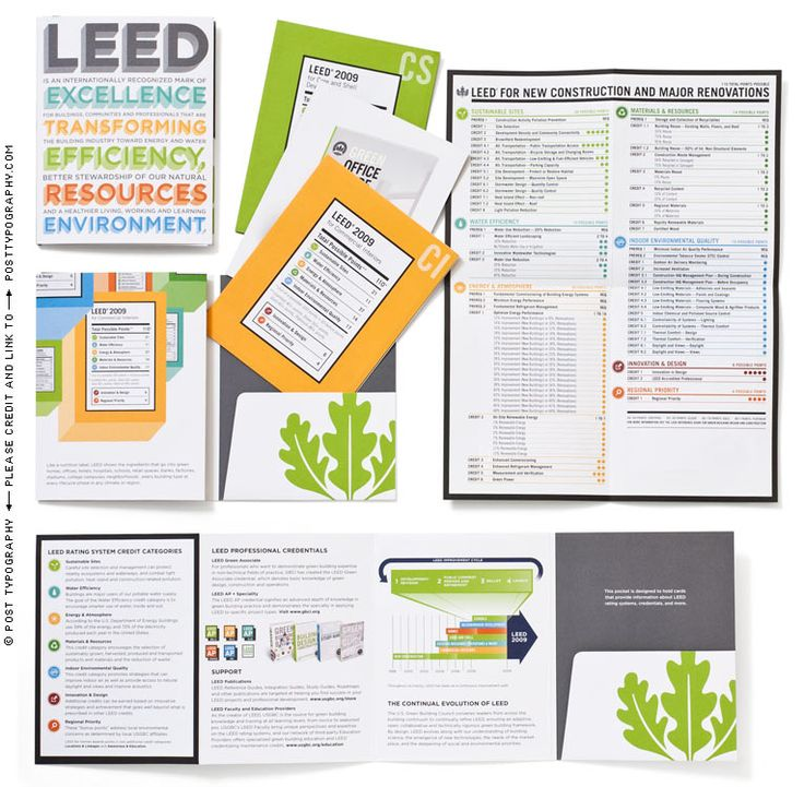 LEED collateral system. environmental advocacy graphic design and illustration for U.S. Green Building Council promoting sustainable building, design, development, construction, and architecture. USGBC and LEED