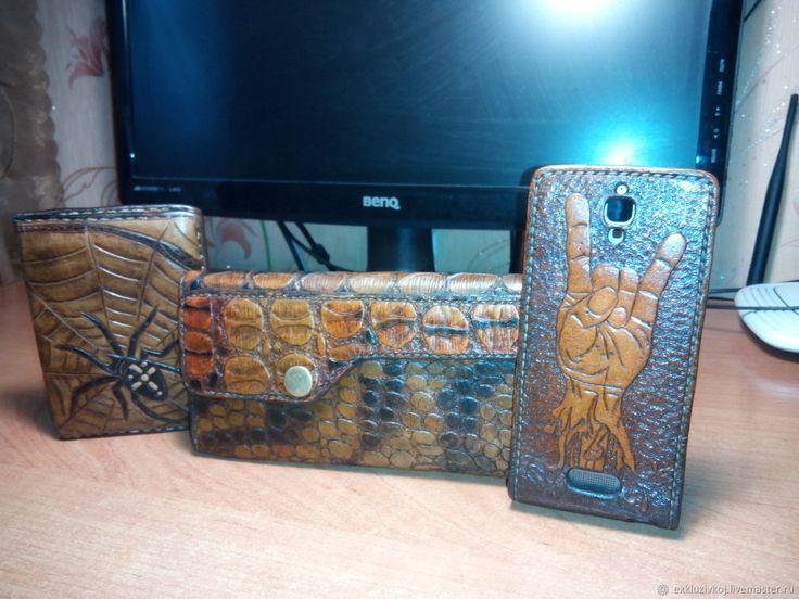 Купить Бумажник. - коричневый, рыжий, чехол для телефона, бумажник, кошелек из кожи, портмоне ручной работы