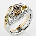 Troy O'Brien Fine Jewellery | Rings - Multi colour diamond dress ring in 18ct rose and white gold.