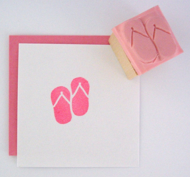 MINI Flip Flops Hand Carved Rubber Stamp. $3.50, via Etsy.