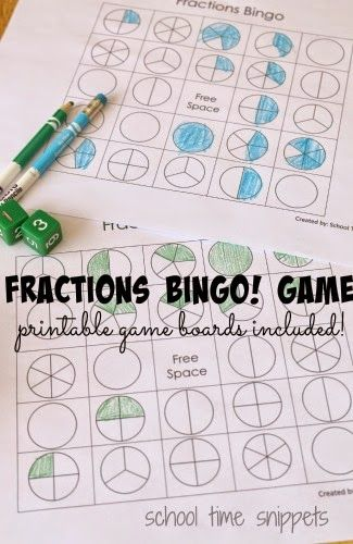 fractions bingo game free printable gameboard