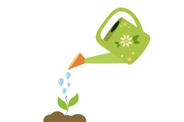 Man watering plant. Clipart   k37320510   Fotosearch