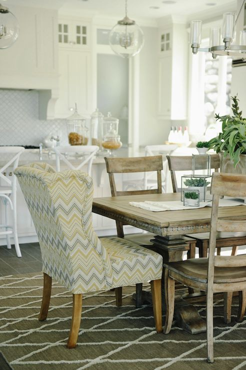Yellow And Gray Fabrics For Dining Room Chairs