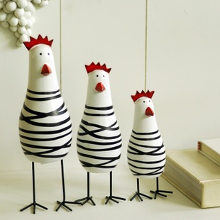 Special! Nordic wood ornaments black stripes rooster decoration