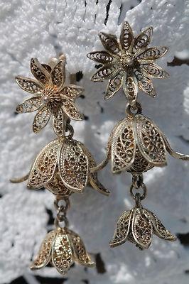 Vintage Sterling Silver Cannetille Filigree Fuchsia Flower Screw Back Earrings | eBay