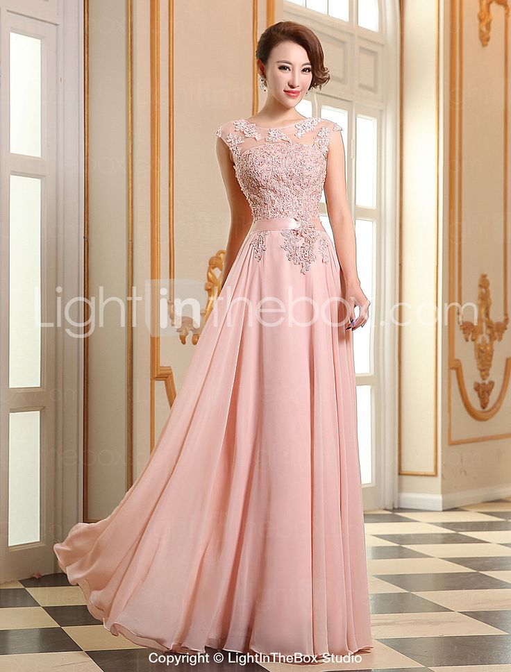 A-line Jewel Floor-length Georgette Evening Dress (LF196) - EUR € 77.36
