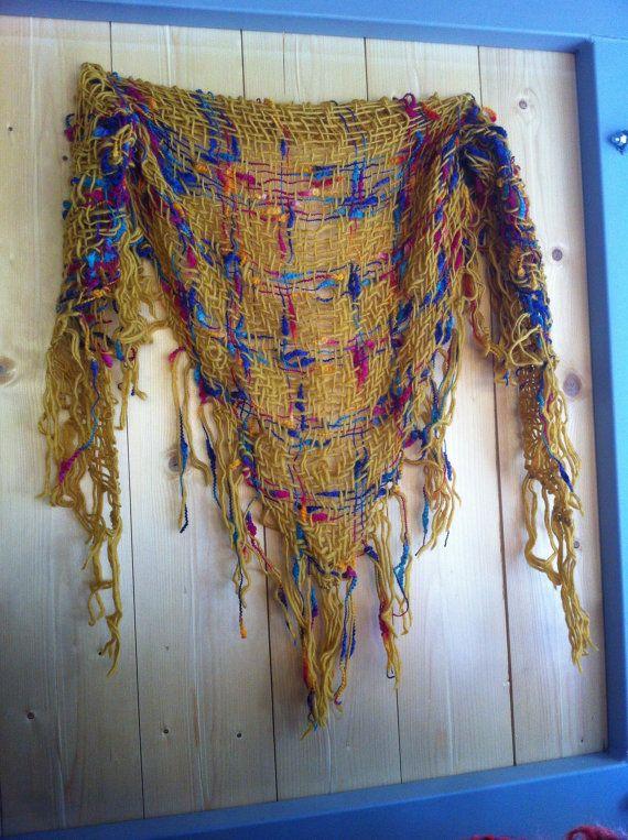 SHAWL scarf wool 100% wool.  Triangle loom. SHAWL. by Enlanada