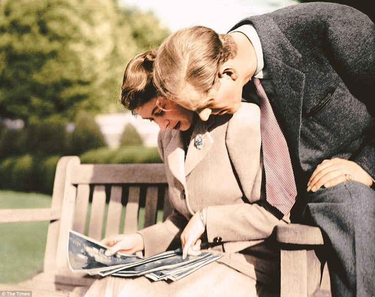 Princess Elizabeth and the Duke of Edinburgh, photographed in the grounds of Broadlands lo...