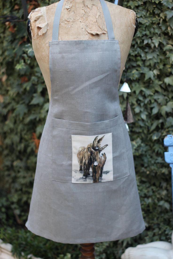 tablier cuisine,petit apliqué(âne du poitou), couleur gris, entièrement en lin de la boutique atelierdeugenie sur Etsy